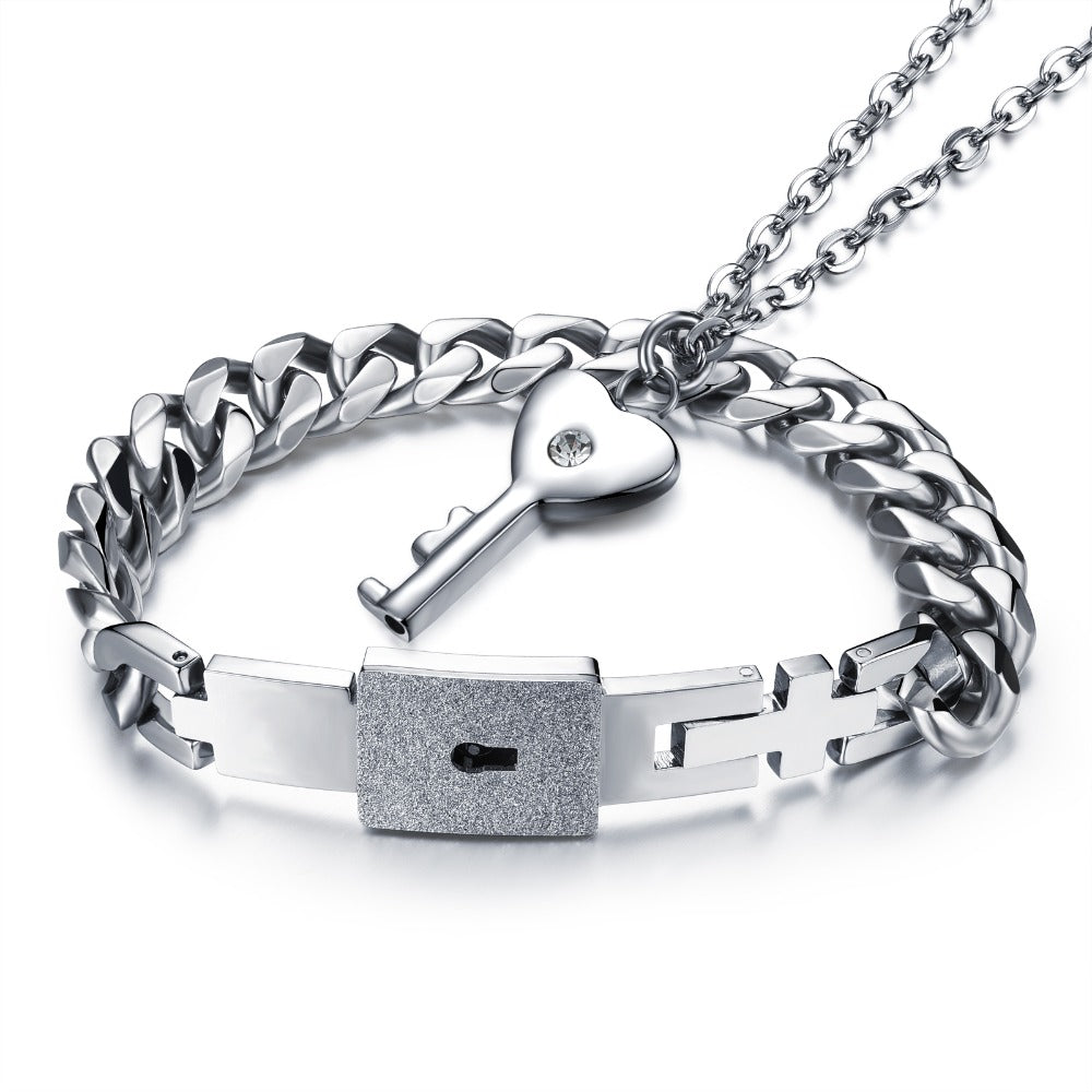Valentines Lovers Stainless Steel Necklace and Bracelet Love Lock Set