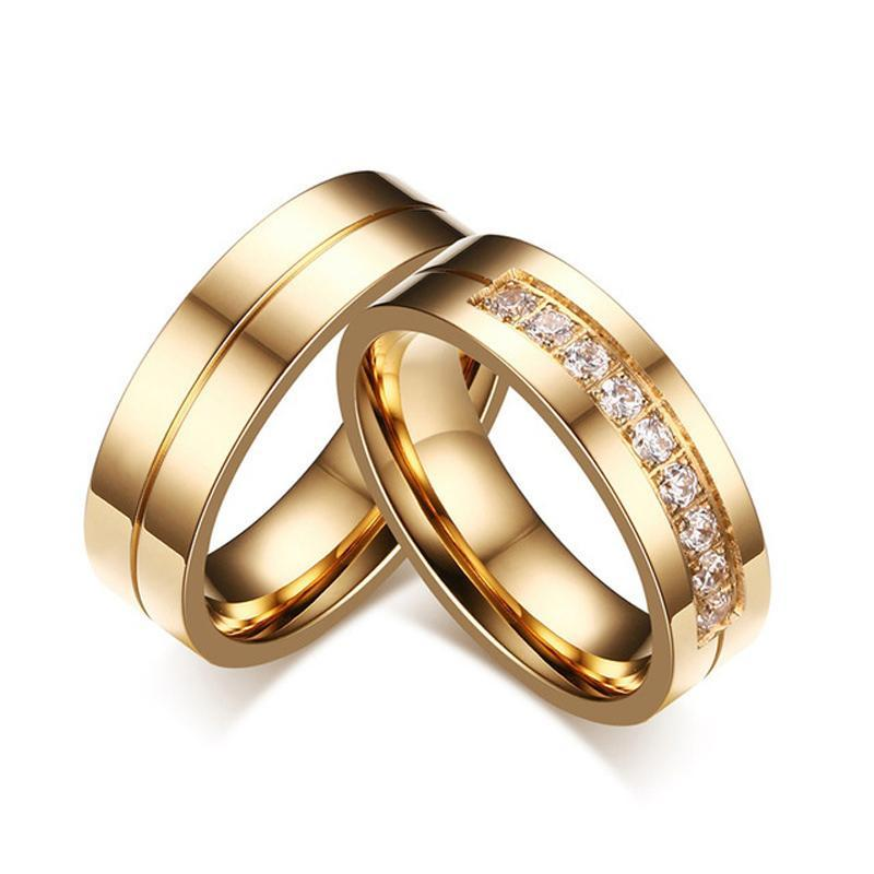 Gold Color Stainless Steel with Crystals Couple Rings
