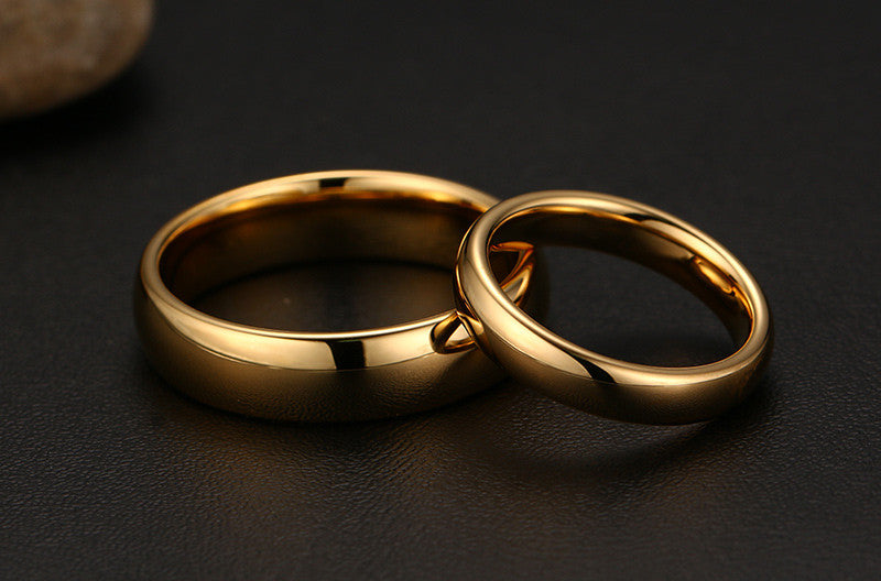 Solid Gold-Color Couple Rings