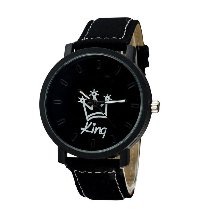 Trendy KING and QUEEN Couples Watches with Leather Strap