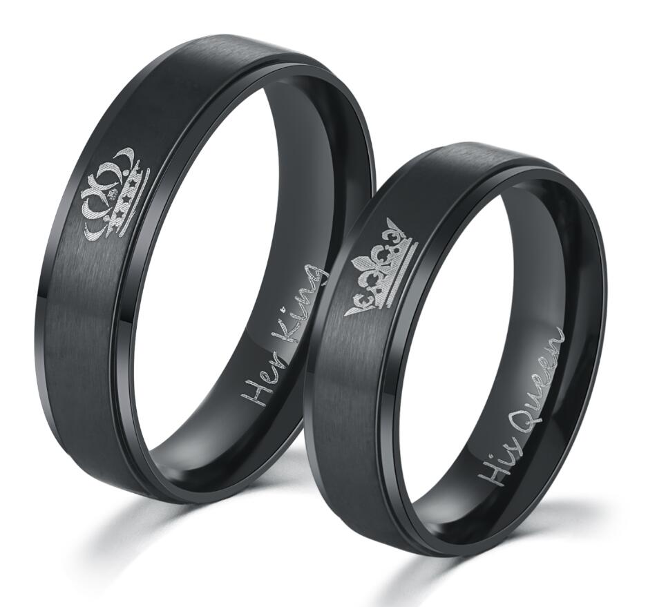 Black Plated Stainless Steel HIS QUEEN and HER KING Rings for Lovers