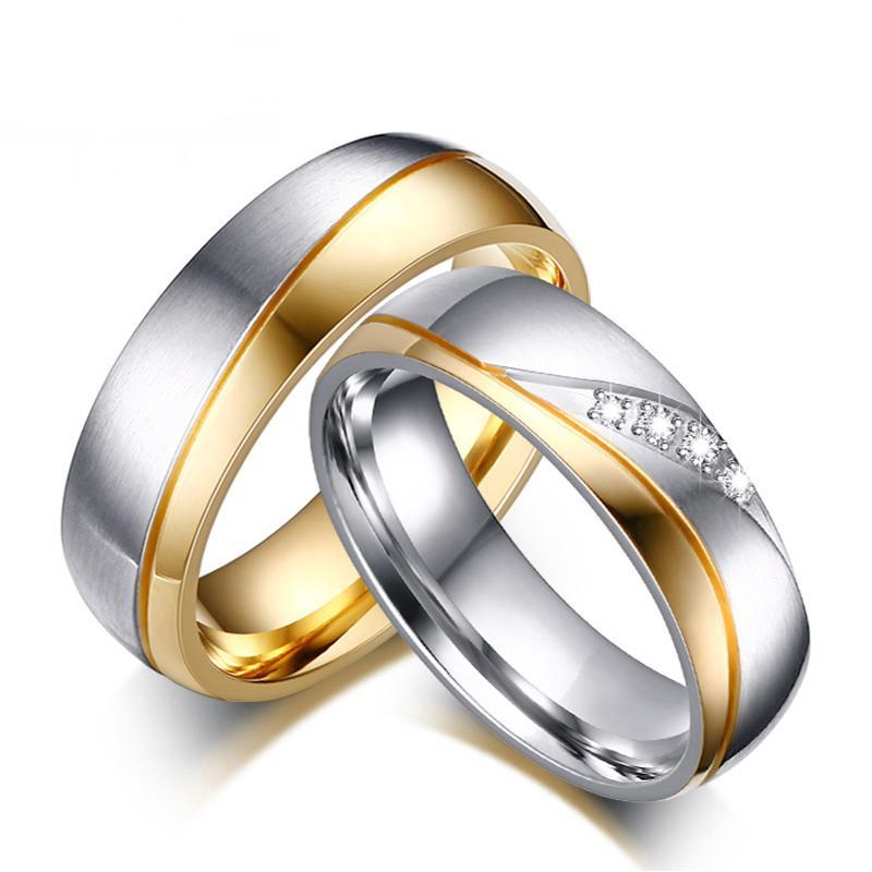 Elegant Gold and Silver Color Stainless Steel Couple Rings with crystals
