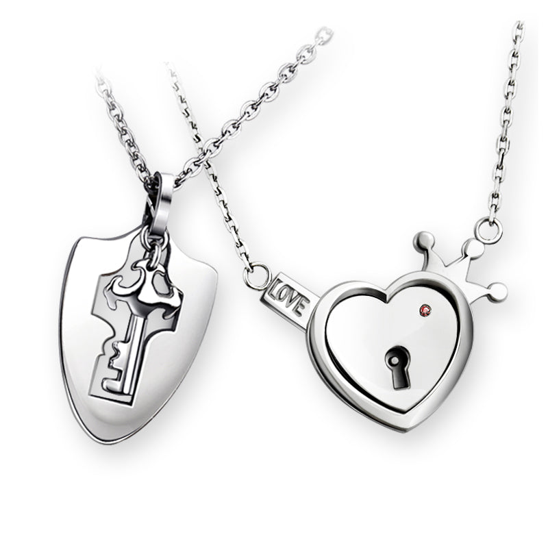 Valentines Couple Key and Heart Lock Pendant Necklace