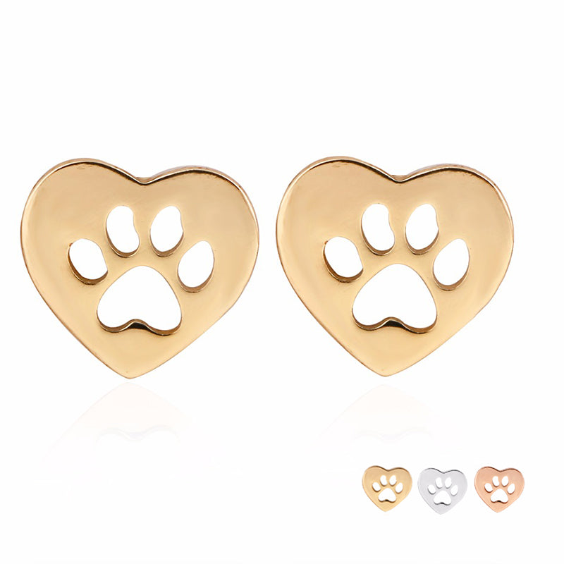 Cat's Paw Print in Heart Earring - JUST PAY SHIPPING AND HANDLING