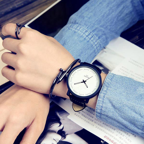 Unisex PU Leather Strap Couple Watches