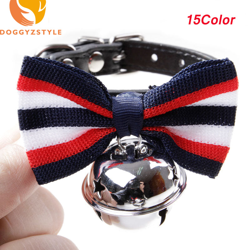 Leather Collar with Bell and Bow Tie for Pets