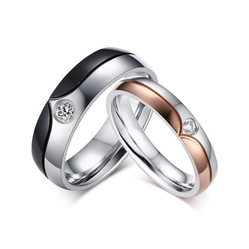 Romantic Stainless Steel Wedding Couple Rings with CZ Stone