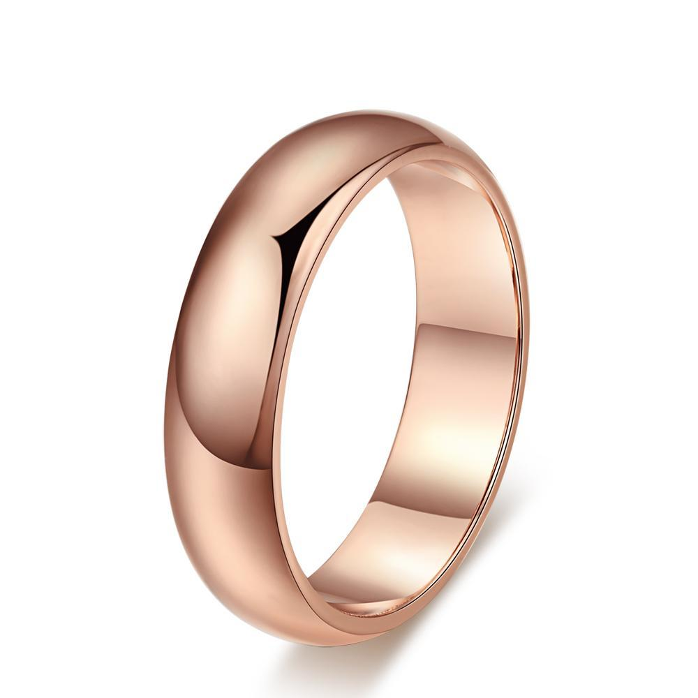 Simple Style Rose Gold and Silver Color Couple Rings