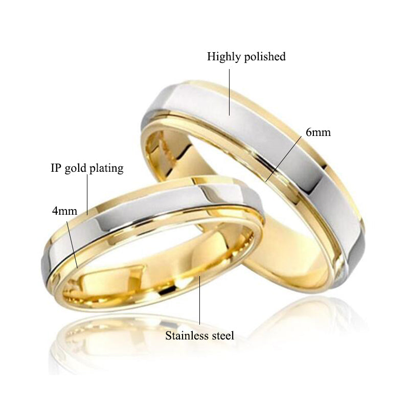 Simple Gold with Silver Color Couple Rings