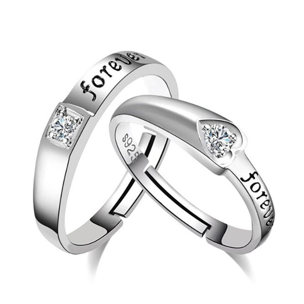 "Silver Heart-shaped ""FOREVER"" Rings"