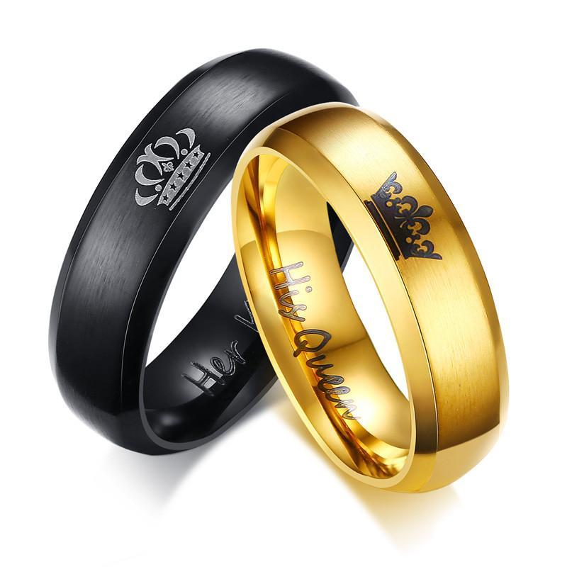 Black and Gold Her King And His Queen Crown Ring Color for Couples