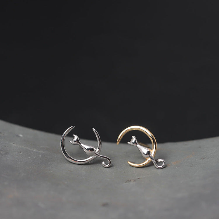 Cat Moon Gold & Silver Earings - JUST PAY SHIPPING & HANDLING