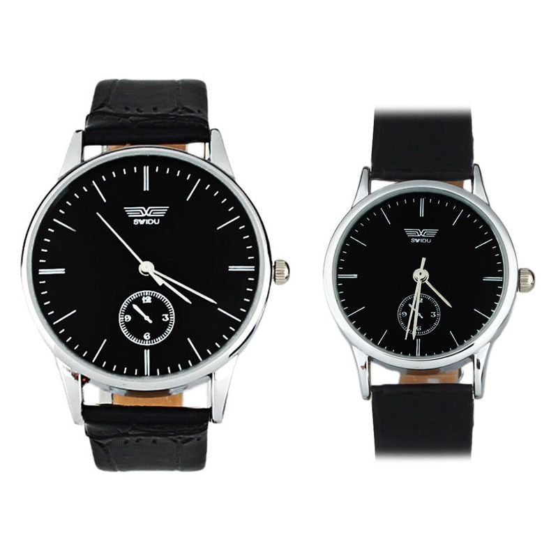 Classic Couple Watch with PU Leather Band Wrist