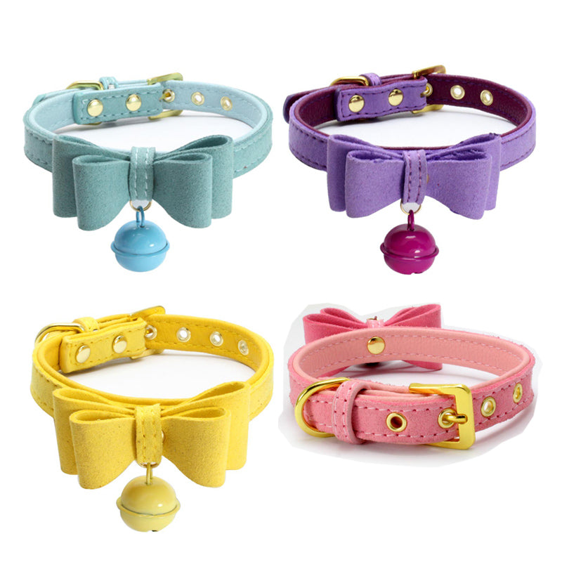Pet Leather Collar with Bow Tie and Bell