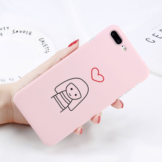 Cute Pink Pig and You and Me Heart Case for Couples
