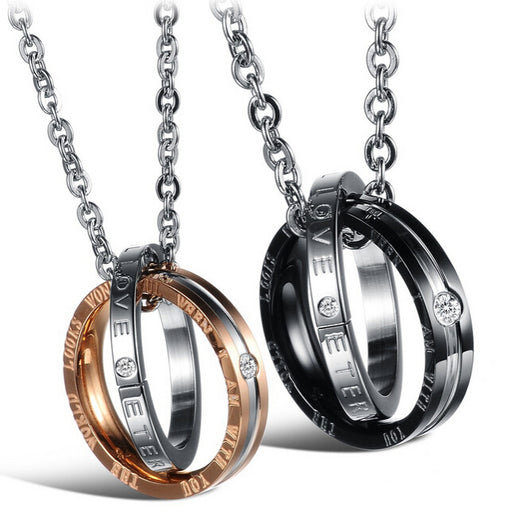 Valentines Couple Crystal Ring Necklaces Pendants