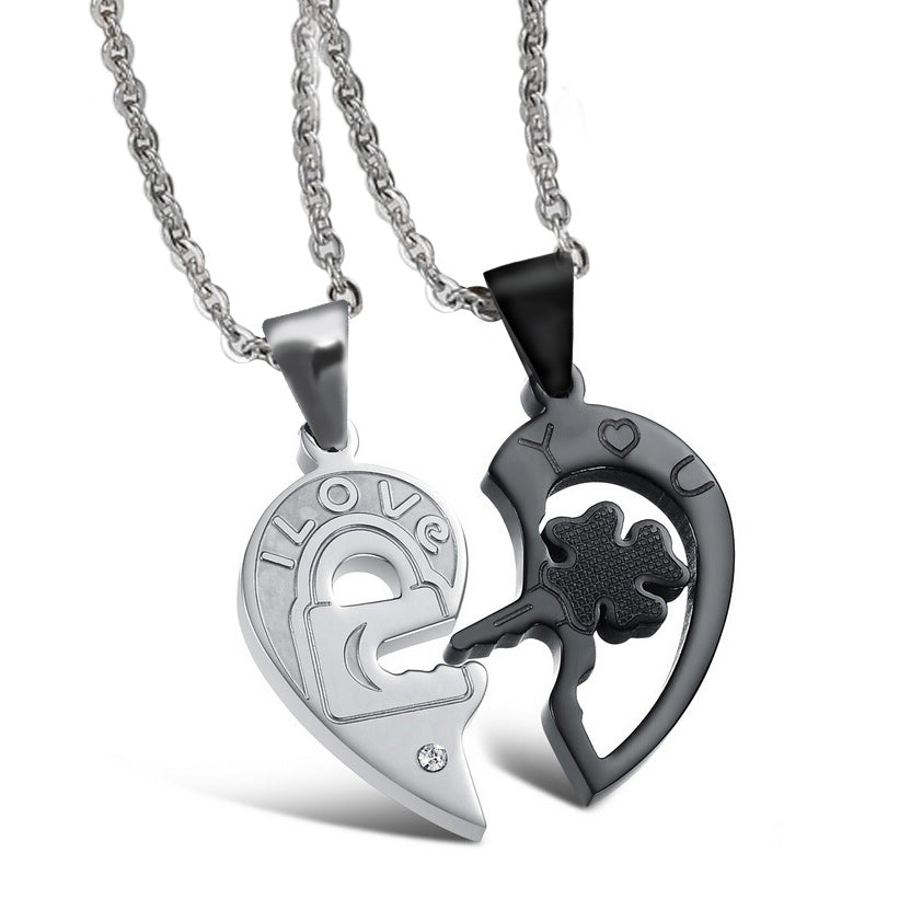 Valentines Stainless Steel Heart and Key Puzzle Couple Necklace