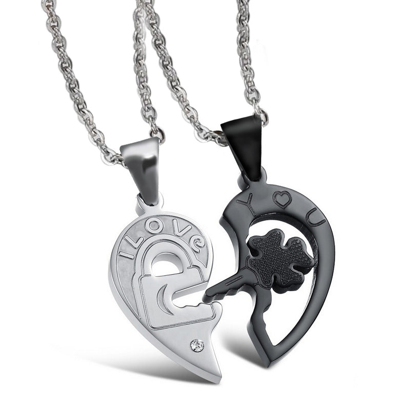 Stainless Steel Heart and Key Puzzle Couple Necklace