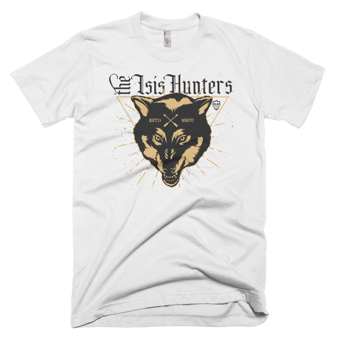 The ISIS hunters Miltary apparel and tactical design. Wolfs head tee shirt design for police