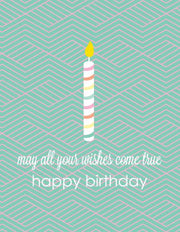 """May all your wishes come true Happy Birthday"" Greeting Card - $1.50 Each (GC45AP152)"