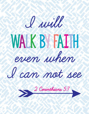 """I will walk by faith even when I can not see"" Greeting Card - $1.50 Each (GC45AP3029)"