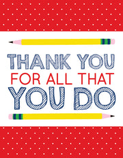 """Thank you for all that you do Teacher"" Greeting Card - $1.50 Each (GC45AP3030)"