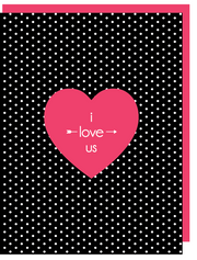 """I love us - Valentine's Day"" - Greeting Card with COLORED ENVELOPE - $1.70 Each (GC45AP1009C)"