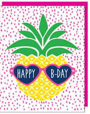 """Happy B-Day"" Pineapple Greeting Card with COLORED ENVELOPE- $1.70 Each (GC45AP2087C)"