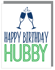 """Happy Birthday Hubby"" Happy Birthday Greeting Card with COLORED Envelope- $1.70 Each (GC45AP2096C)"