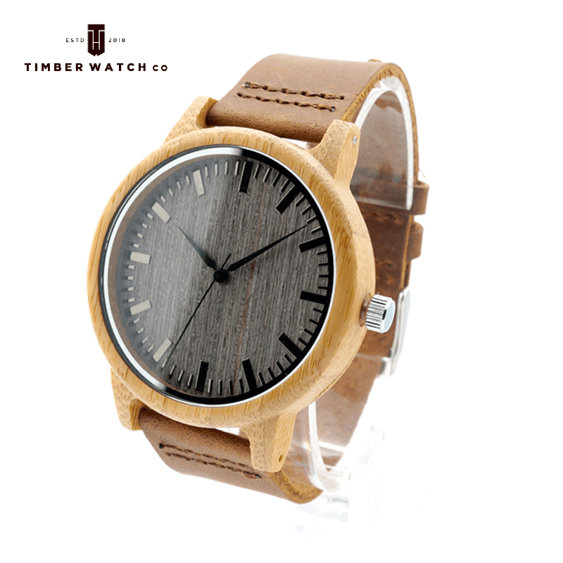 Bamboo Watch - Dark Dial with Leather Band