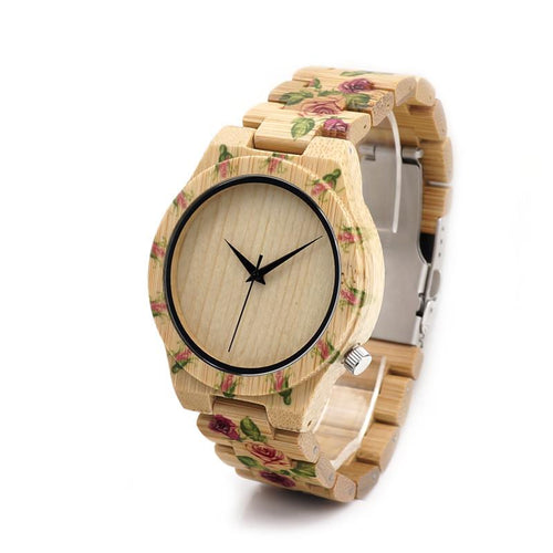 Floral Bamboo Watch - Blank Bamboo Dial - Timber Watch Co.