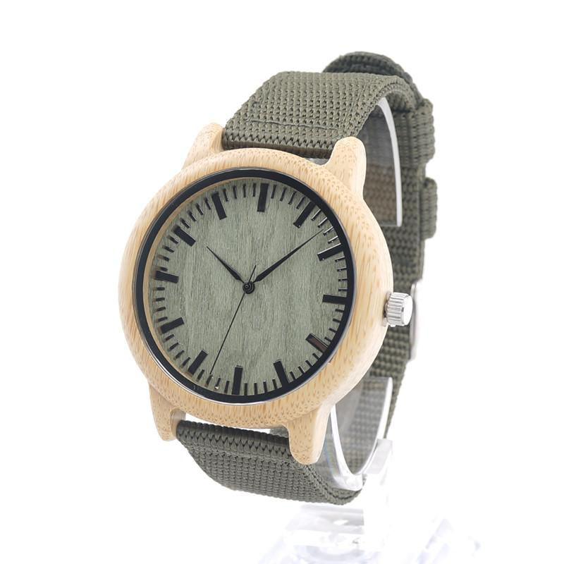 Bamboo Watch - Greenwood Dial with Canvas Band - Timber Watch Co.