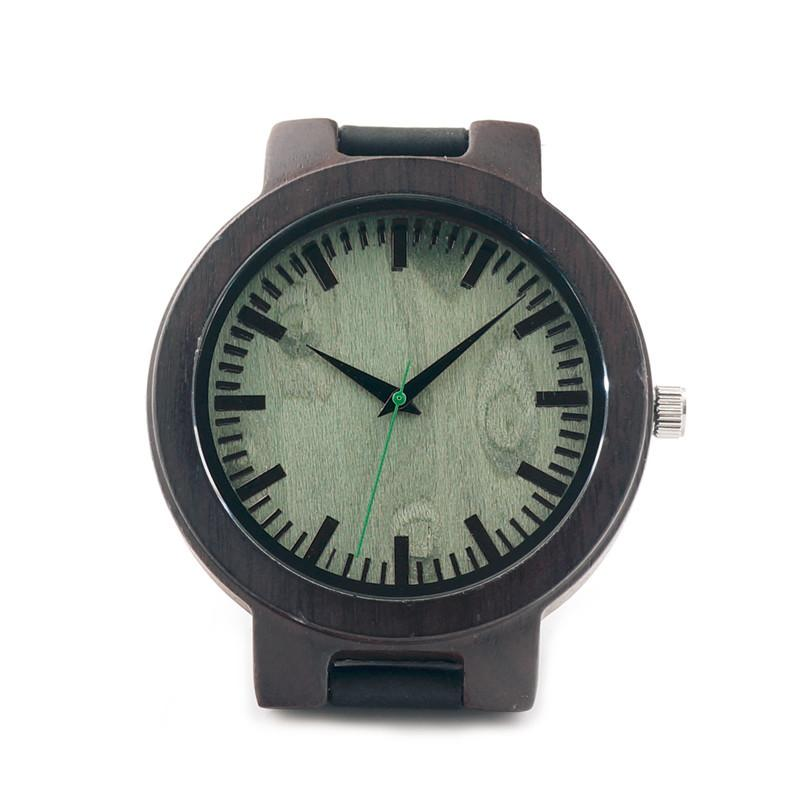 Ebony Wood Watch - Greenwood Dial - Timber Watch Co.
