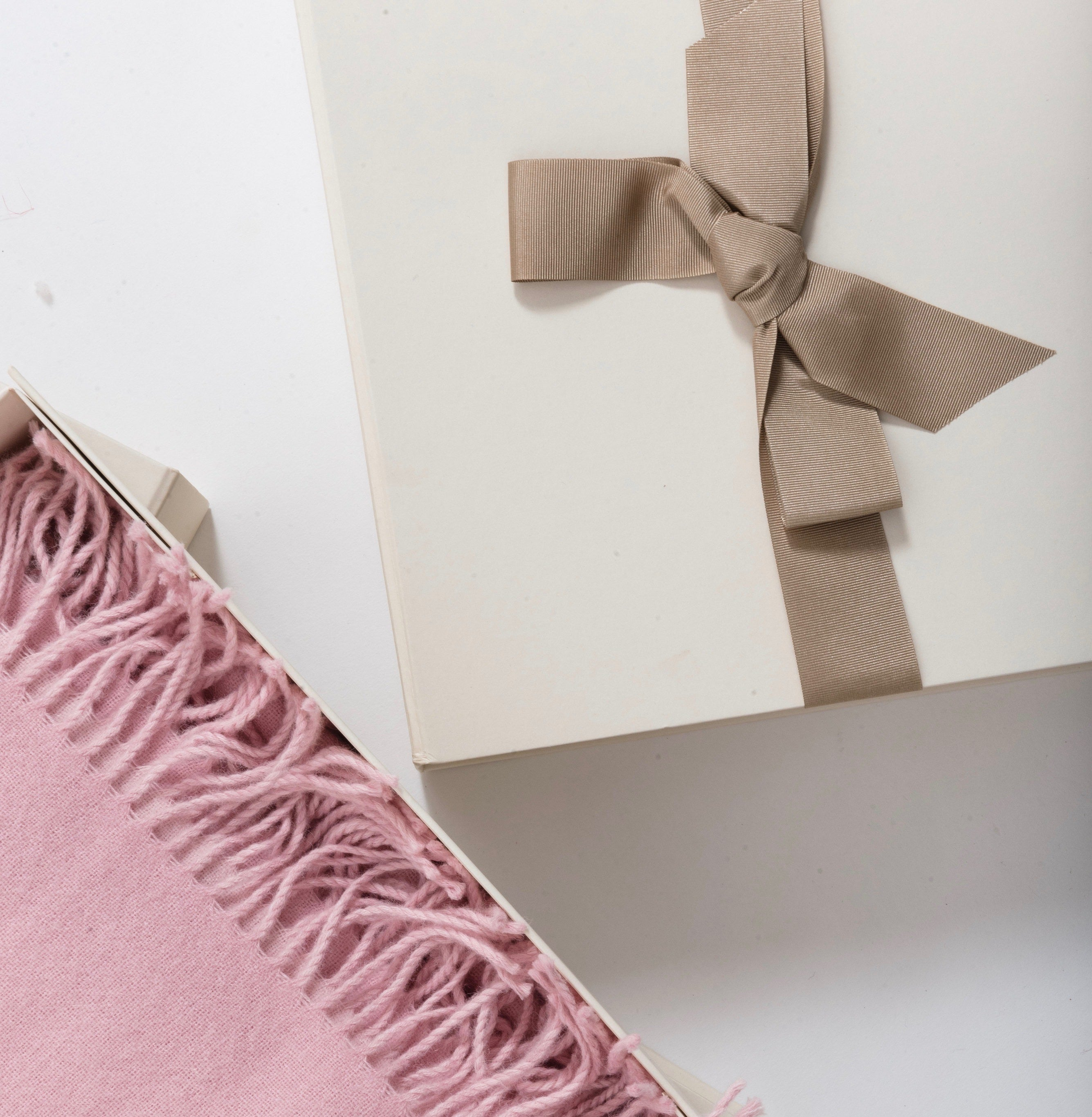 Pink blanket and gift box