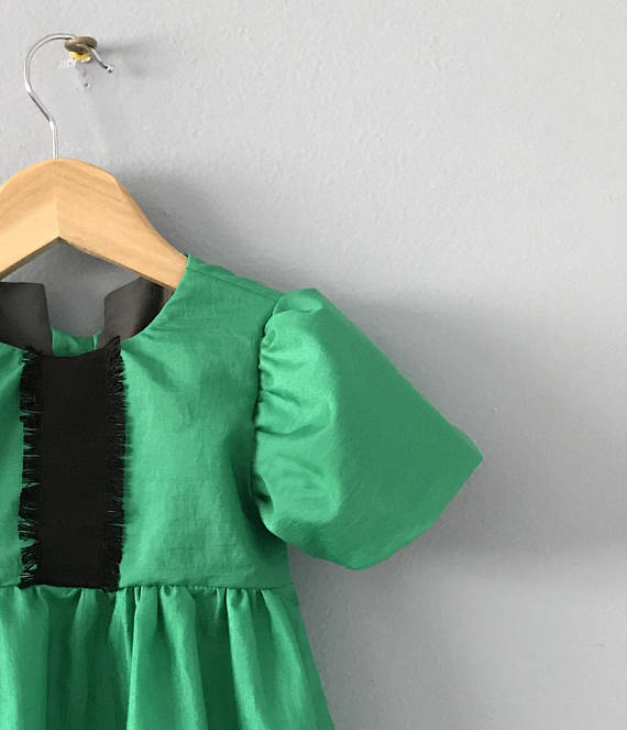 Tellurite Girls Dress, Holiday Dress, Christmas Dress, Toddler Dress, Green Dress, Girls Green Dress, Girls Ruffle Dress Size 1