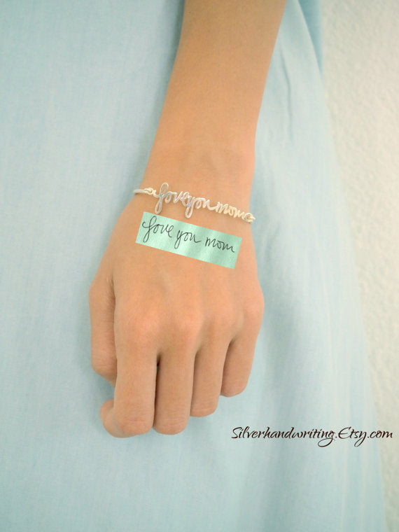 Signature Bangle • Handwriting Bracelet in Sterling Silver • Handwriting Bangle • Handwritten Bangle • Mother Gift • Christmas Gift • BH05