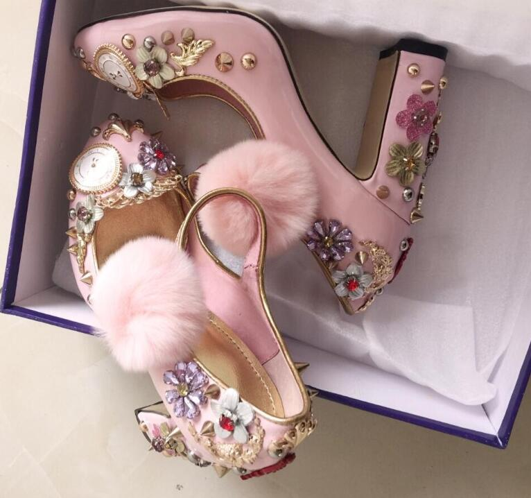 Pink hair ball thick chunky high heels watches and clocks flower rivets diamond ladies Princess shoes real photos