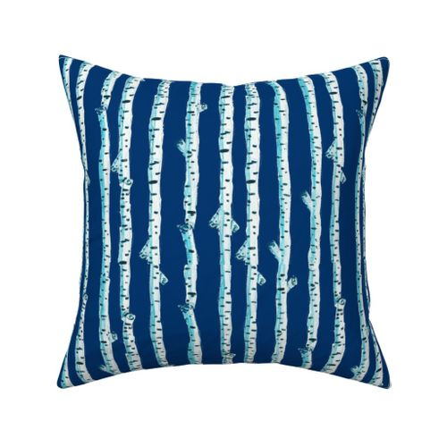 Navy Birch Stripe Outdoor Square Pillow