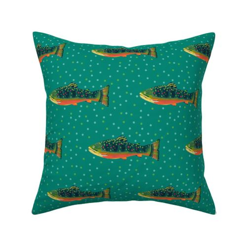 Brook Trout Outdoor Square Pillow
