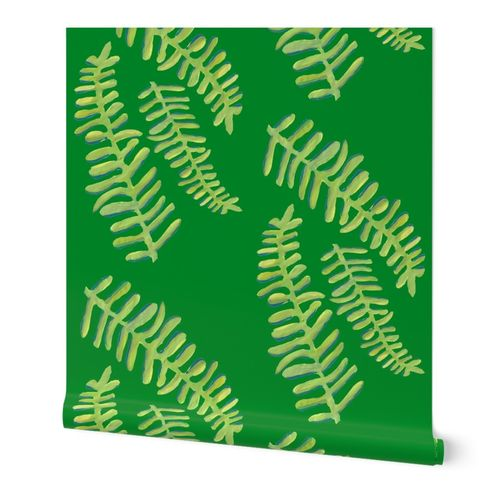 Emerald Floating Fronds Wallpaper