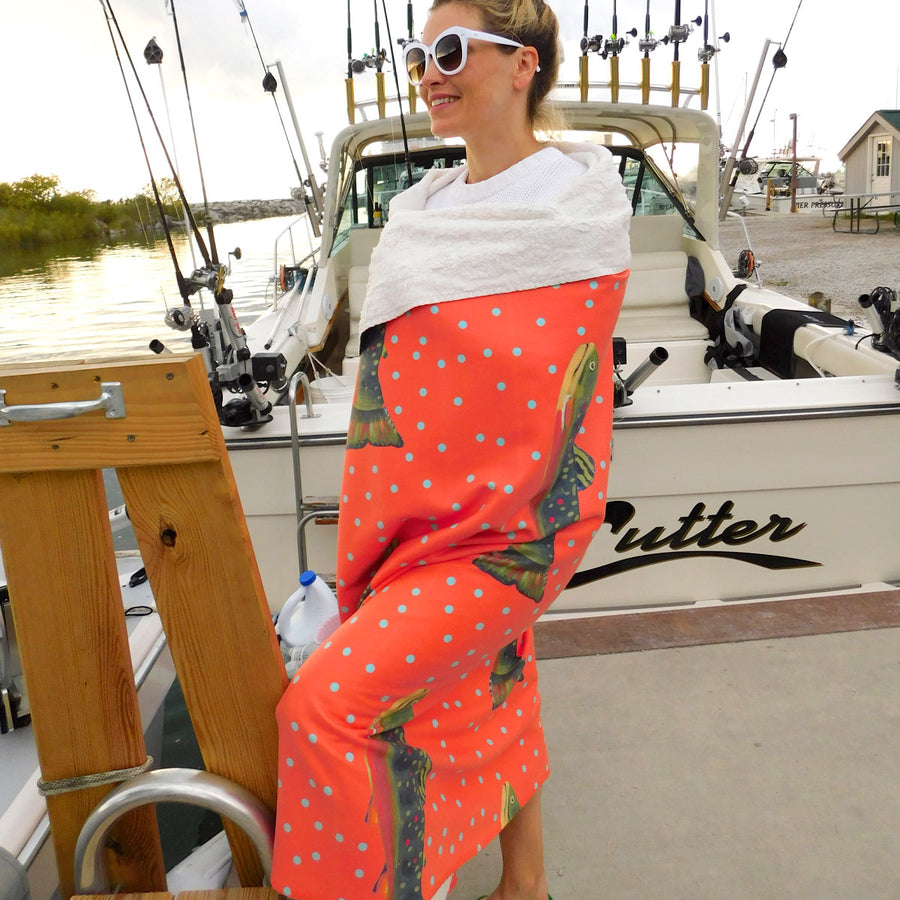 Grapefruit Brook Trout Sherpa Blanket
