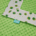 White Lightning Bugs with Dark Lime Minky Baby Blankie