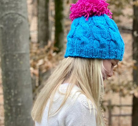 Surf and Sunset Large Cable Pom Winter Hat