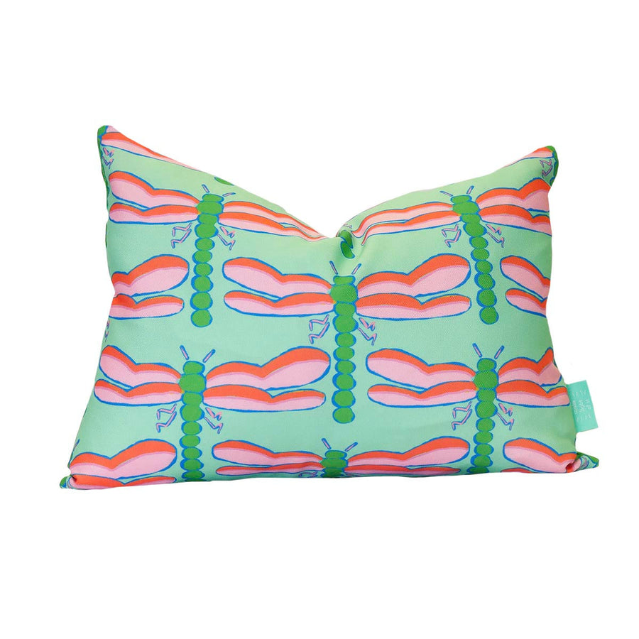Seagreen Dragonfly Lumbar Down Pillow