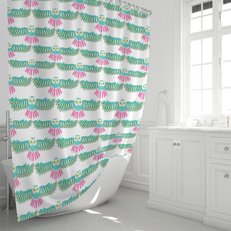 White Night Owl Shower Curtain