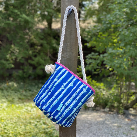 Navy Birch Stripe Bucket Bag