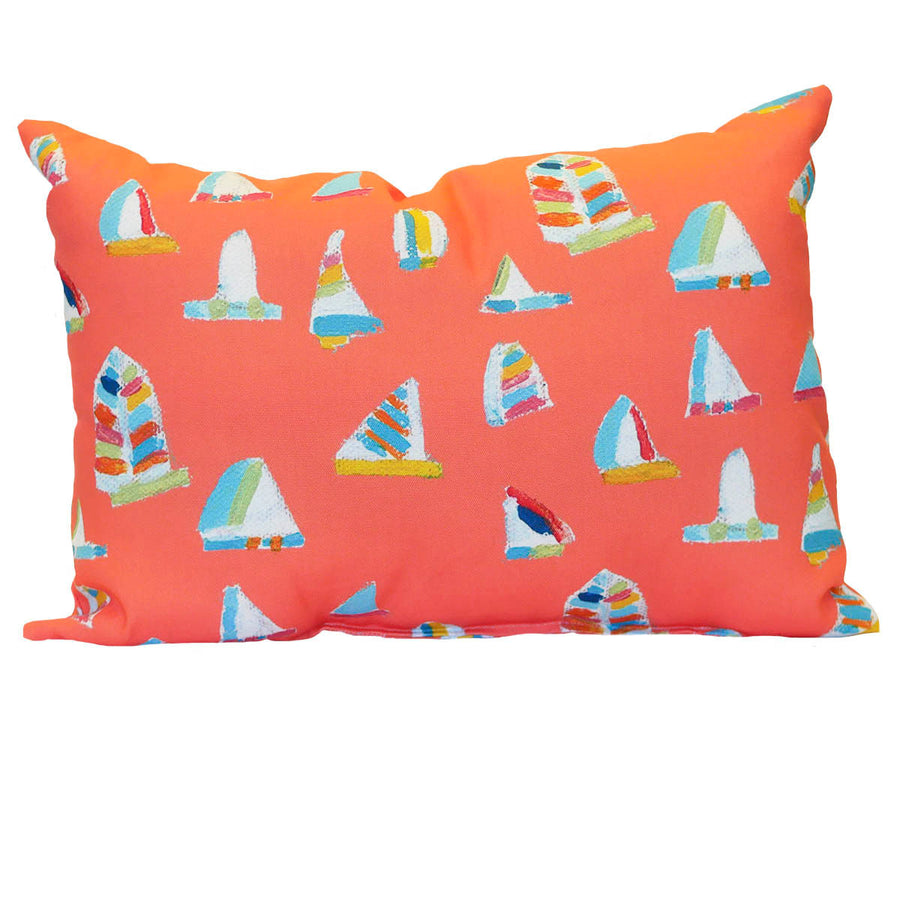Grapefruit Summer Sail Outdoor Lumbar Pillow