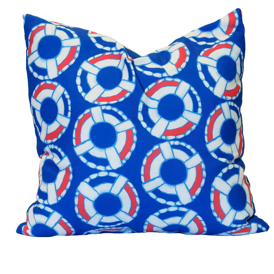 Navy Lifesaver Outdoor Square Pillow