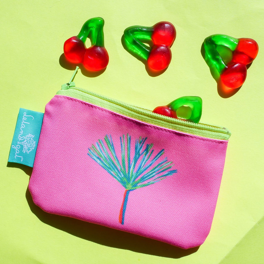 Sunset Pink Pine Zip Change Purse