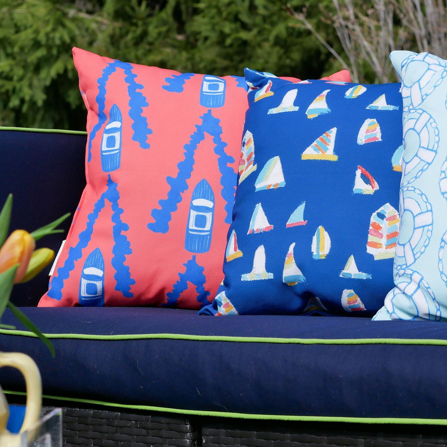 Navy Summer Sail Outdoor Square Pillow